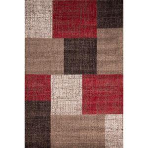 tapis salon beige et rouge achat vente tapis salon beige et rouge pas cher cdiscount. Black Bedroom Furniture Sets. Home Design Ideas