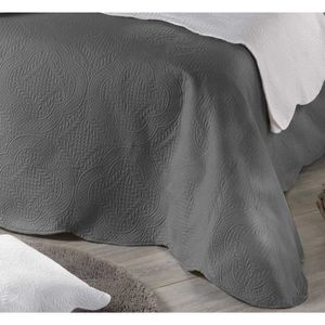 couvre lit boutis gris achat vente couvre lit boutis. Black Bedroom Furniture Sets. Home Design Ideas