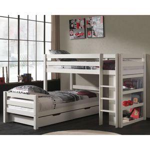 lit superposes bois blanc achat vente lit superposes bois blanc pas cher cdiscount. Black Bedroom Furniture Sets. Home Design Ideas
