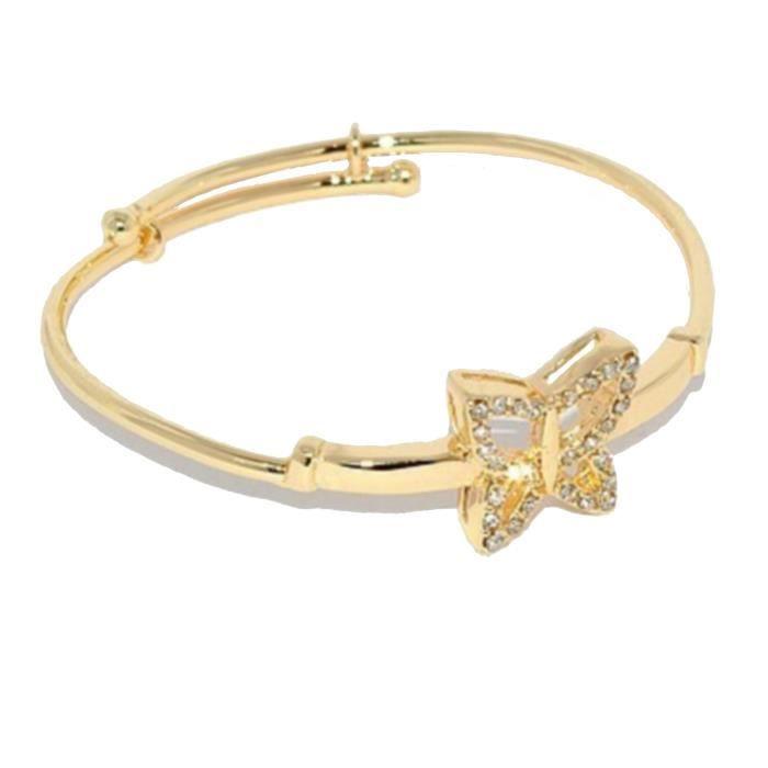 bracelet rigide pour enfant fille papillon plaqu or 1 micron et strass dor achat vente. Black Bedroom Furniture Sets. Home Design Ideas