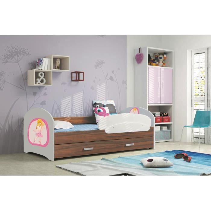 lucky 160x80 chene havana lit pour enfant avec rangement sommier matelas motif au choix achat. Black Bedroom Furniture Sets. Home Design Ideas