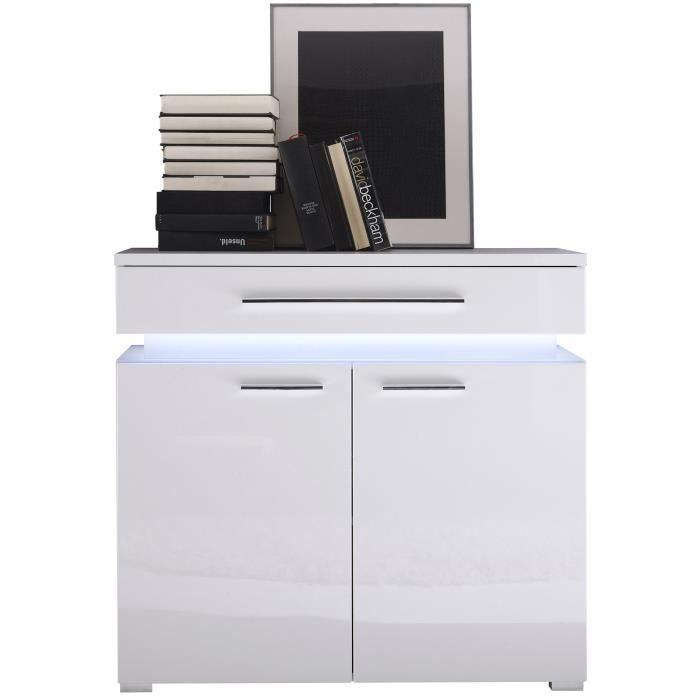 meuble de rangement 2 portes et 1 tiroirs avec clairage achat vente petit meuble. Black Bedroom Furniture Sets. Home Design Ideas
