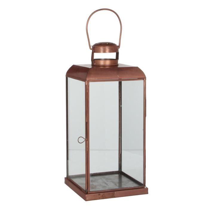 Lanterne En Fer Cuivr Et Verre Avec Anse Poser Shine 40cm Achat Vente Photophore