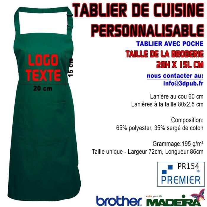 Tablier avec poche 39 vert 39 brod personnalisable caf bar restaurant kebab pizzeria 3 pi ces - Tablier de cuisine personnalisable ...
