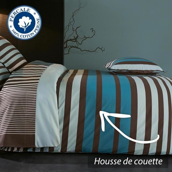 housse de couette 260x240 cm percale pur coton stripe bleu achat vente ho. Black Bedroom Furniture Sets. Home Design Ideas