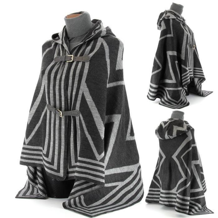 cape poncho capuche tricot luisa femme gris achat vente pull cape poncho capuche tricot. Black Bedroom Furniture Sets. Home Design Ideas