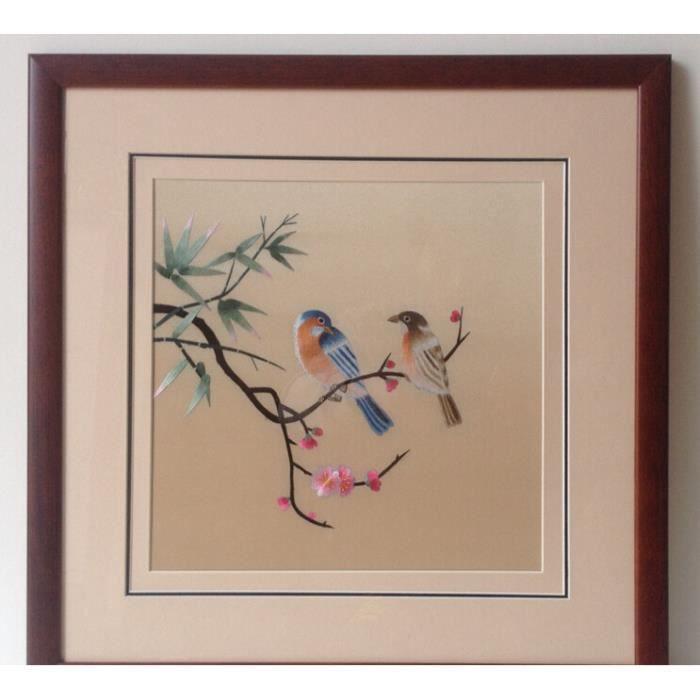 oiseaux broderie peintures faites la main des peintures d 39 art de la broderie la broderie. Black Bedroom Furniture Sets. Home Design Ideas
