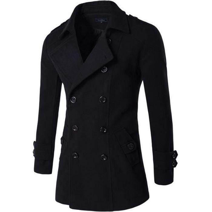 manteau homme caban homme parka homme doudoune homme noir achat vente manteau caban. Black Bedroom Furniture Sets. Home Design Ideas