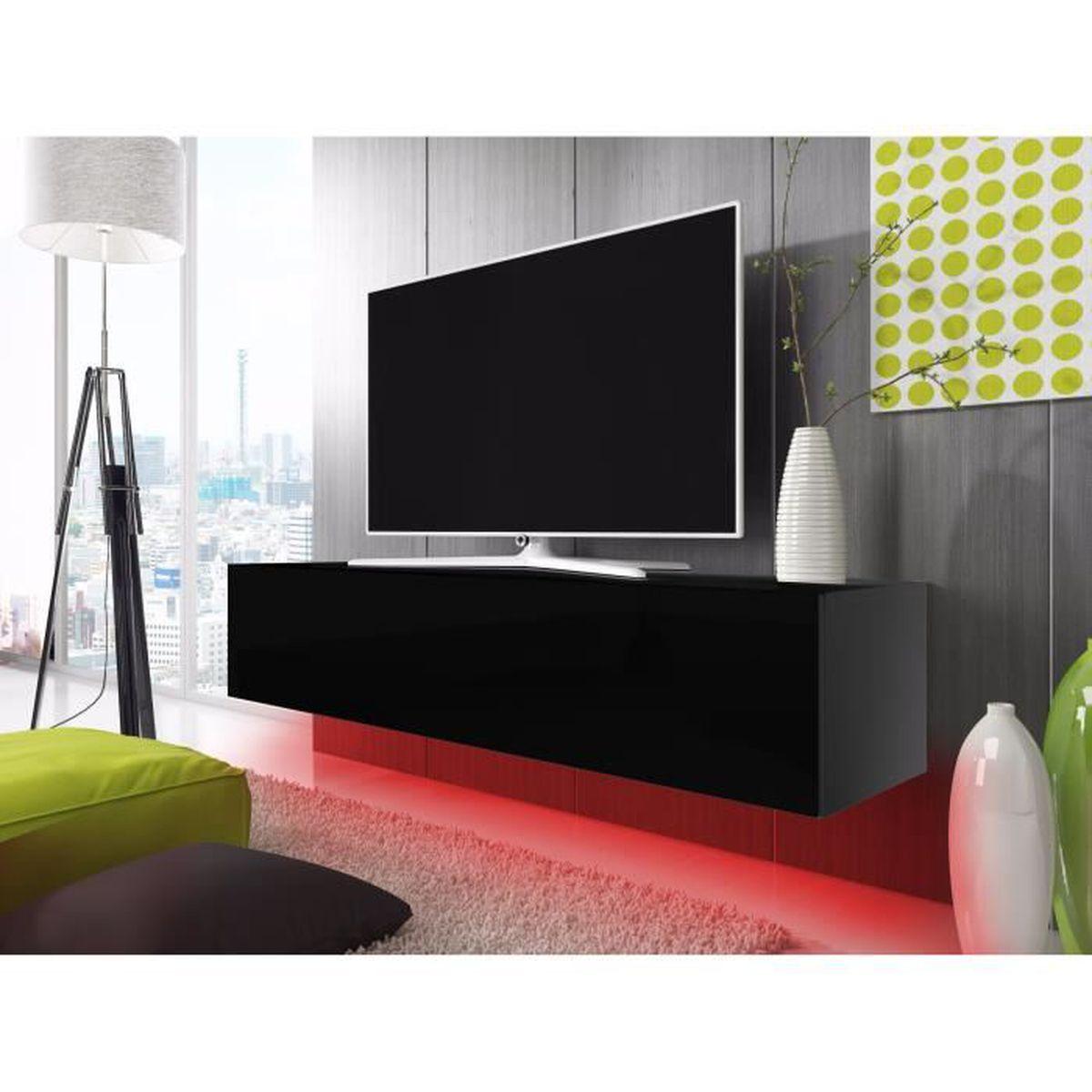 Meuble tv lana avec led rouge noir mat noir brillant for Finlandek meuble tv mural katso 160 cm coloris blanc et noir