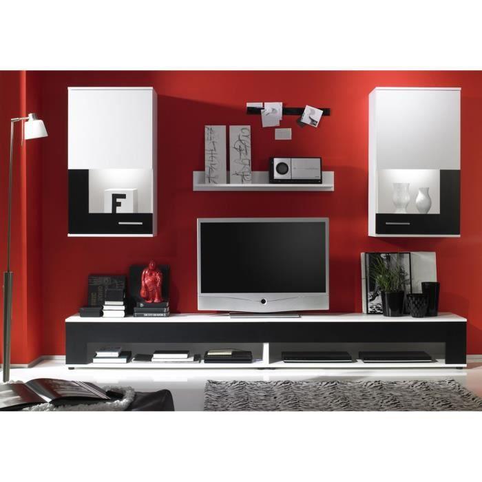ensemble 4 meubles muraux blanc et noir achat vente. Black Bedroom Furniture Sets. Home Design Ideas