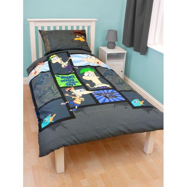 phineas and freb parure de lit housse de co achat vente parure de couette cdiscount. Black Bedroom Furniture Sets. Home Design Ideas