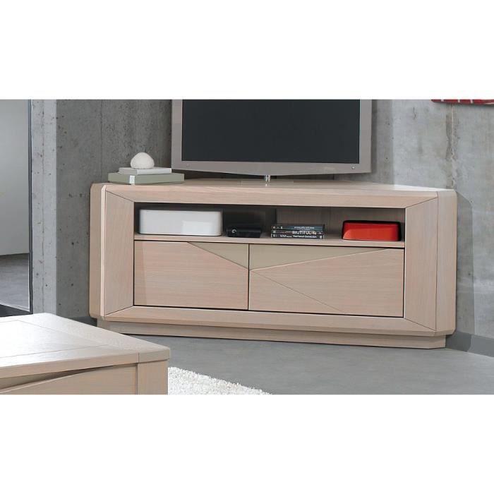 Meuble tv macao ch ne naturel achat vente meuble tv meuble tv d angle ch - Meuble tv angle chene ...