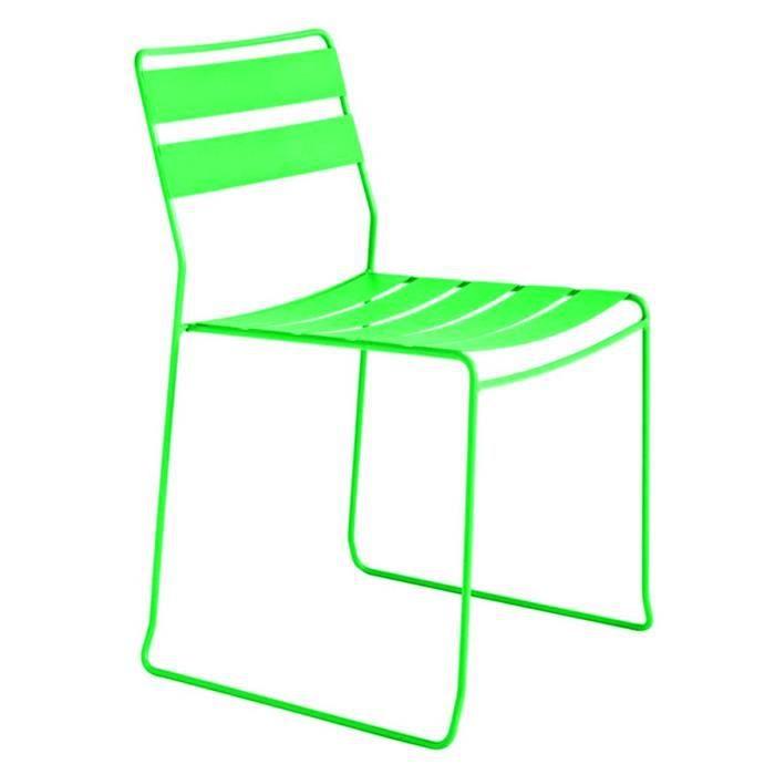 Chaise de jardin m tal design pasadena couleur vert achat vente fauteuil - Chaise jardin couleur ...