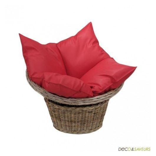 fauteuil rotin pivotant pouf rouge loveuse achat vente fauteuil rouge cdiscount. Black Bedroom Furniture Sets. Home Design Ideas