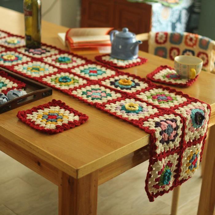 chemin de table fleurs color es faux laine tricoter crochet 5 pieces 1 chemin de table 33 200cm. Black Bedroom Furniture Sets. Home Design Ideas