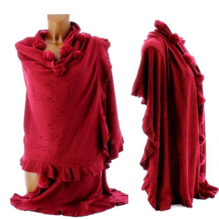 etole echarpe cape poncho pompons cathy femme noir achat vente echarpe foulard etole. Black Bedroom Furniture Sets. Home Design Ideas