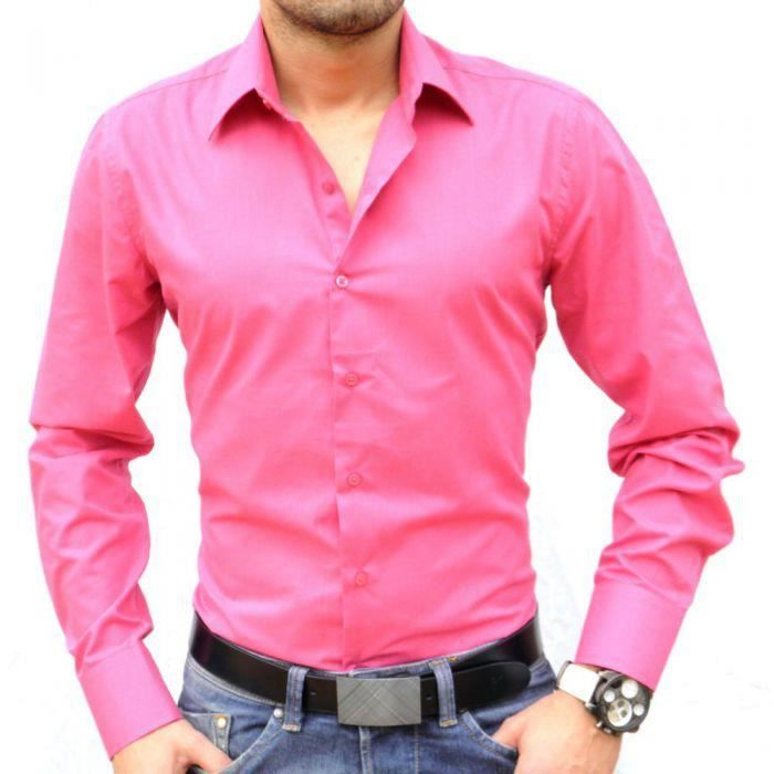 Chemise italienne fushia rose achat vente chemise chemisette cdiscount - Chemise rose pale homme ...