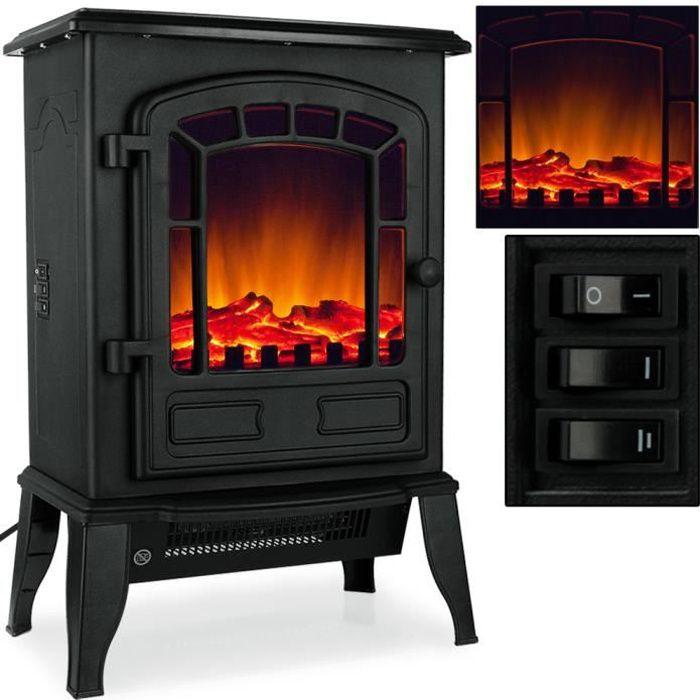 chemin e lectrique avec chauffage et effet feu de chemin e blanc noir achat vente chemin e. Black Bedroom Furniture Sets. Home Design Ideas
