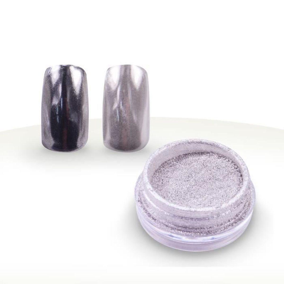 Poudre chrome effet mirroir 1g argent achat vente for Vernis miroir argent