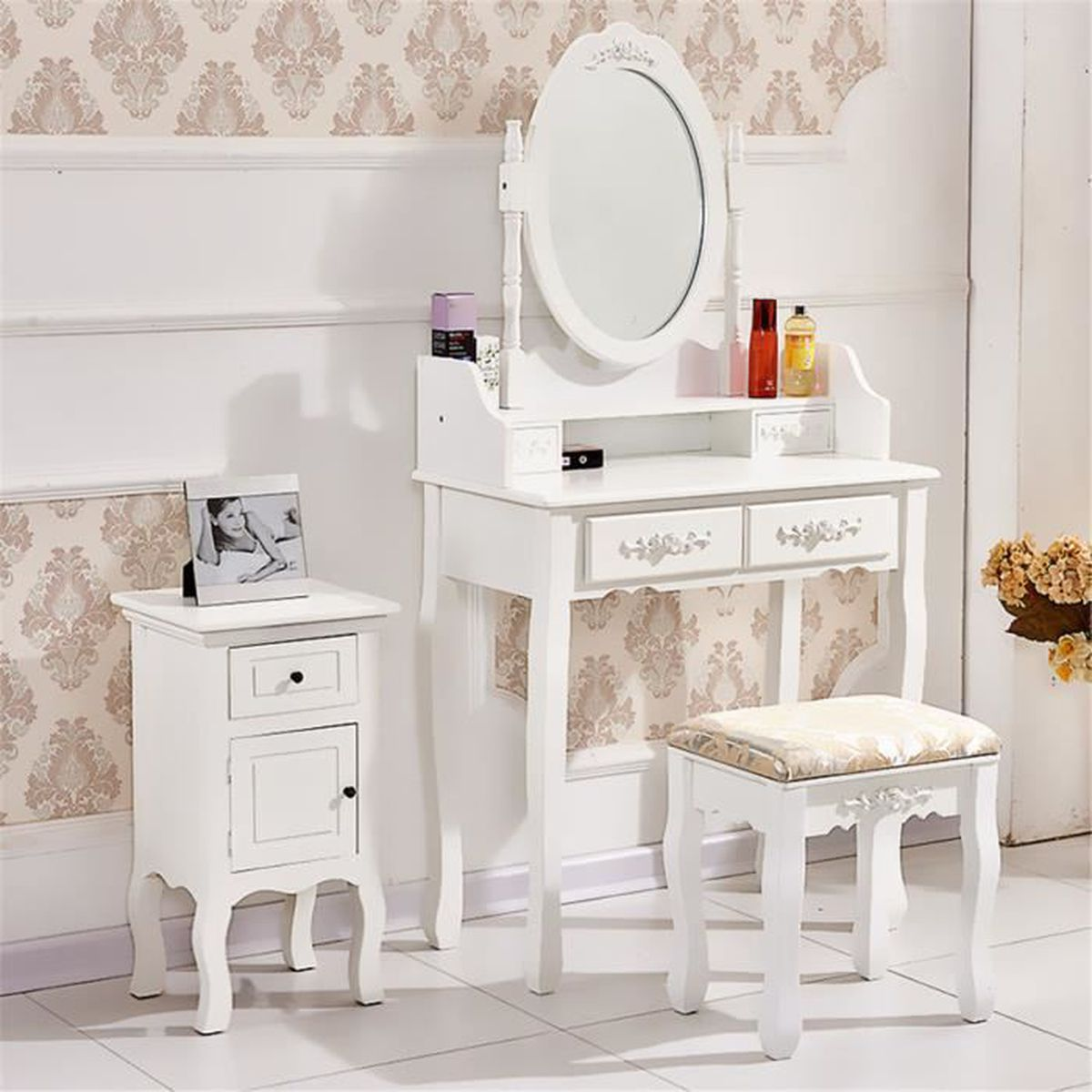 Coiffeuse blanche moderne meilleures images d for Achat miroir