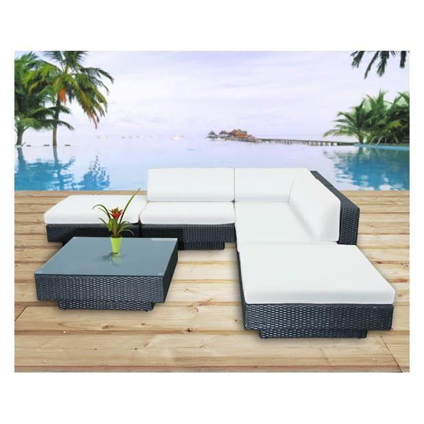 Magnifique salon de jardin vitoria en resine encastrable luxe poly rotin pour 4 personnes Salon de jardin luxe vendome