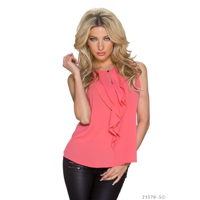 chemise chemisier tunique top corail chic soir e achat vente chemisier blouse. Black Bedroom Furniture Sets. Home Design Ideas