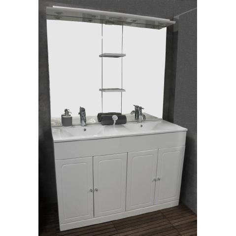 Meuble tolede blanc 120 cm achat vente salle de bain for Meuble blanc 110 cm