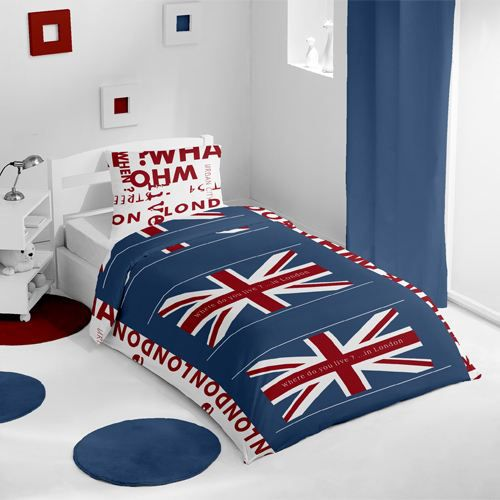 housse de couette et une taie union jack blanc achat vente parure de lit cdiscount. Black Bedroom Furniture Sets. Home Design Ideas