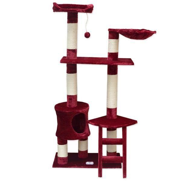 arbre chat en peluche sisal bordeaux 140 cm achat vente arbre chat arbre chat en. Black Bedroom Furniture Sets. Home Design Ideas