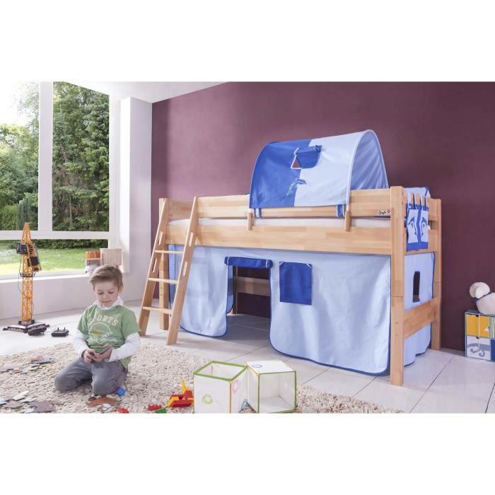 Lit mi hauteur enfant coloris h tre d co bleu achat vente lit mezzanine - Lit mezzanine mi hauteur 1 personne ...