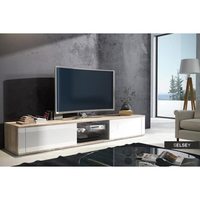 meuble tv blanc et chene achat vente meuble tv blanc et chene pas cher les soldes sur. Black Bedroom Furniture Sets. Home Design Ideas