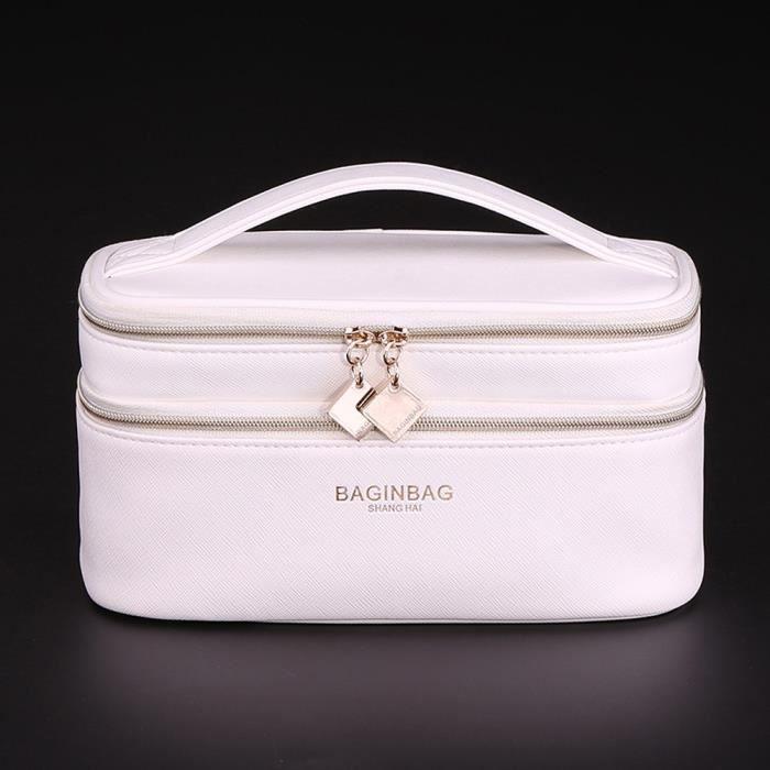 trousse de maquillage vanity beaut double rangement blanc achat vente trousse de. Black Bedroom Furniture Sets. Home Design Ideas