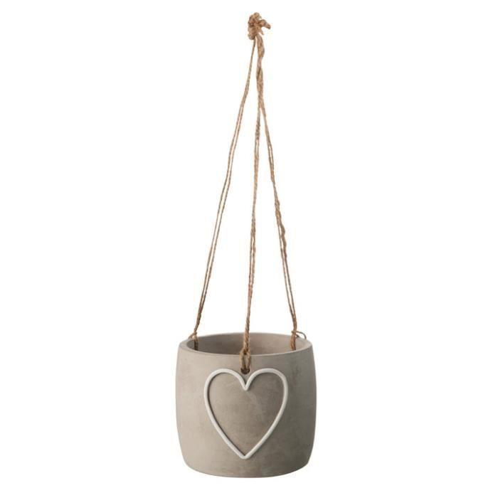 cache pot coeur suspendre en ciment naturel achat. Black Bedroom Furniture Sets. Home Design Ideas