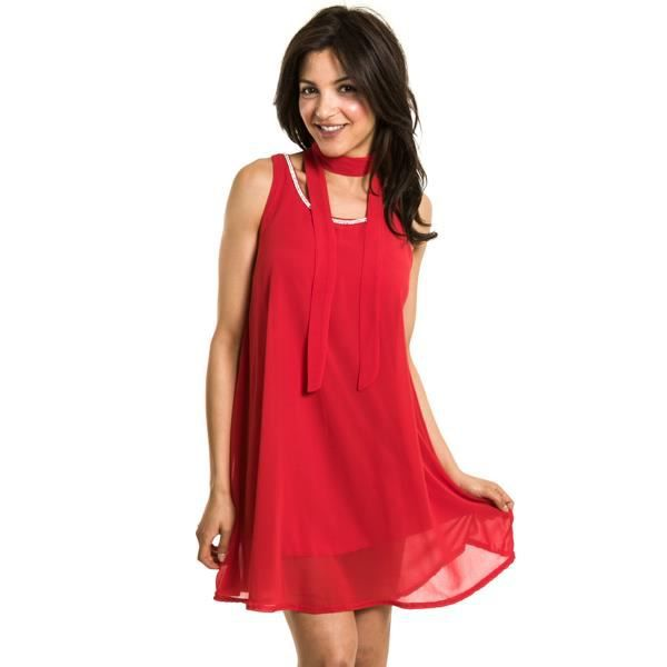 Robe evasee a col rond ornee de rouge rouge achat for Robe rouge évasée