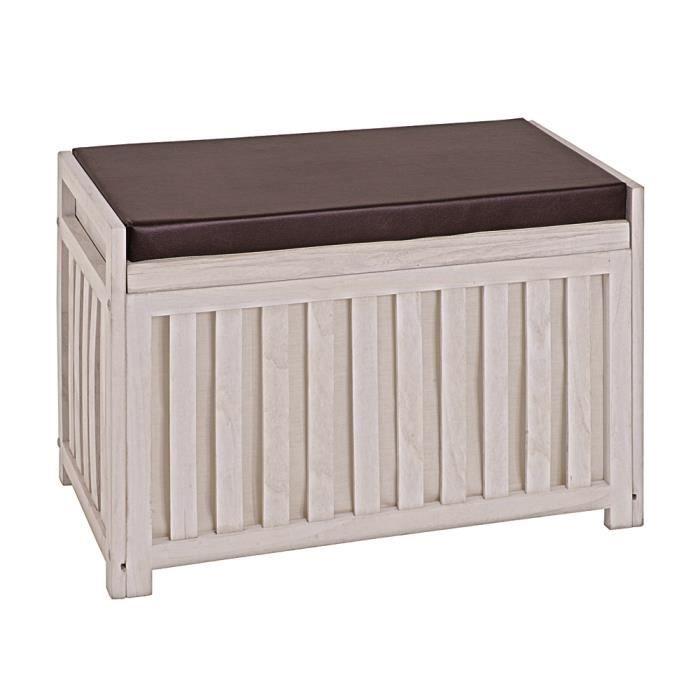 Banc de rangement en bois massif coloris essuy achat vente banc bois - Ikea banc de rangement ...