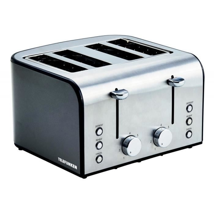 grille pain inox telefunken 4 fentes 1600 w achat vente grille pain toaster cdiscount. Black Bedroom Furniture Sets. Home Design Ideas