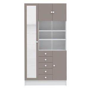 COLONNE - ARMOIRE SDB GALET Armoire de salle de bain 90 cm - Blanc et ta