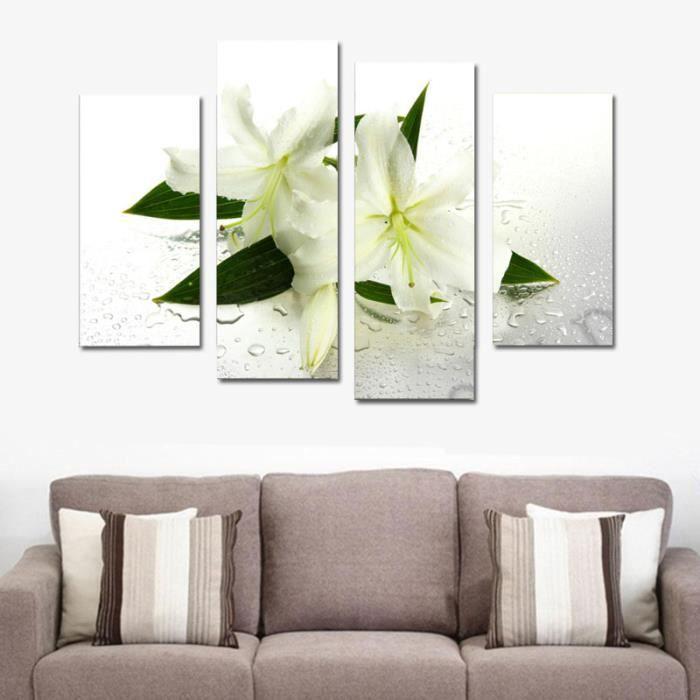 4 panneaux toile impression de peinture moderne fleurs d coration murale blan - Decoration murale moderne ...