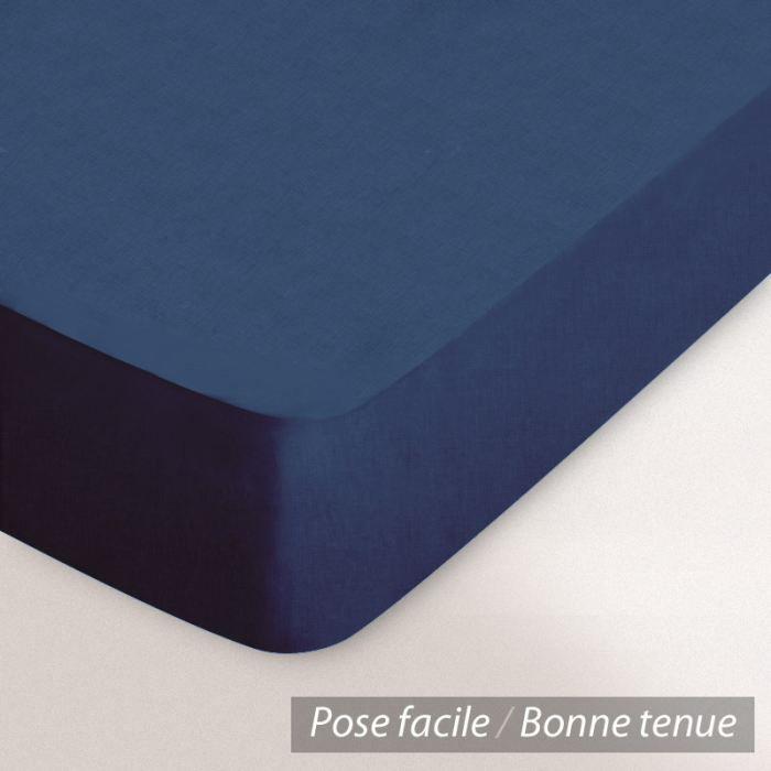 Drap housse 2x80x190 bleu t te et pied relevable achat vente drap housse cdiscount for Drap housse 80 x 190