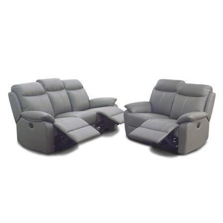 Salon 3 2 lectrique en cuir avec relax lectriques robert - Salon cuir relax electrique ...