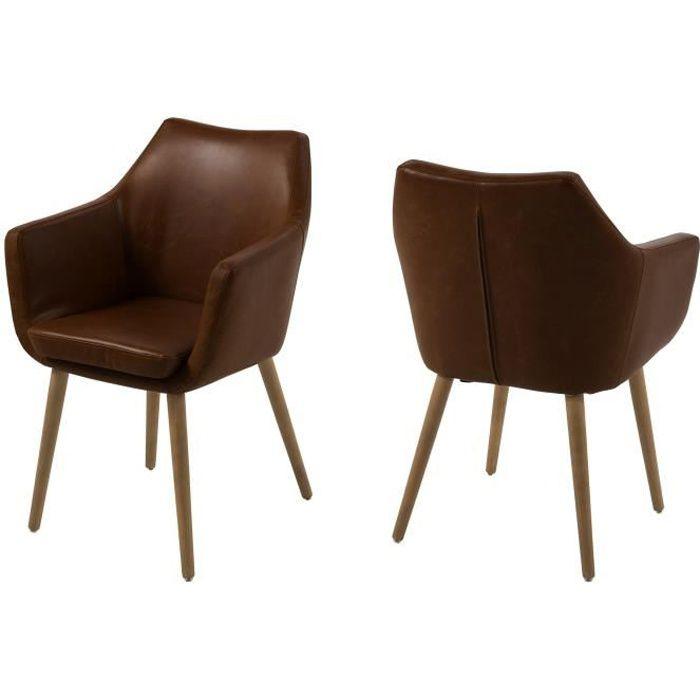 Chaise de salle manger nora en simili cuir achat for Chaise de salle a manger en cuir
