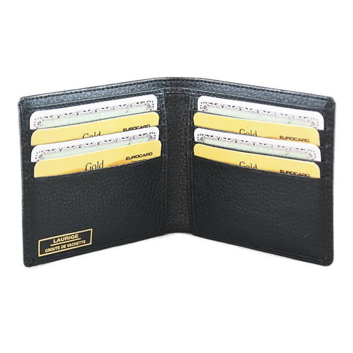 Porte cartes et billets en cuir noir noir achat vente porte carte 2009933667944 cdiscount - Verlicht en cuir noir ...