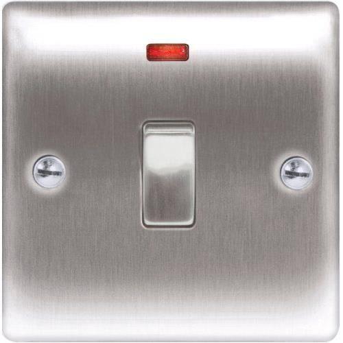 masterplug nbs31 interrupteur 2 p les en acier bross avec t moin lumineux 20 a achat. Black Bedroom Furniture Sets. Home Design Ideas