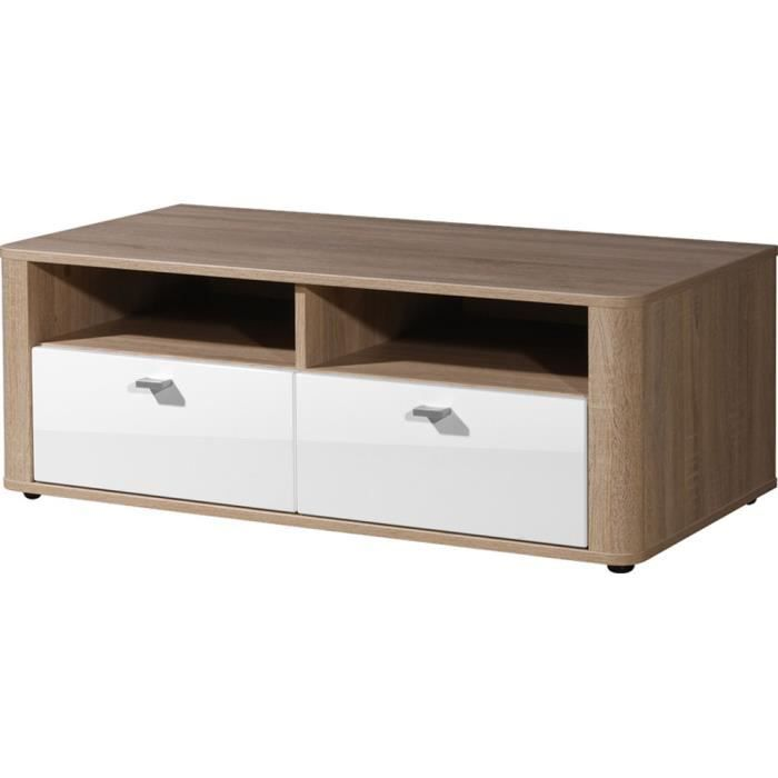 Tv l ment bas ch ne sonoma repro blanc 98 x 3 achat for Nabou meuble tv mural 319x207 cm chene cendre