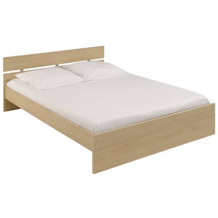 lit en bois 140x190 ch ne nature achat vente lit complet lit en bois 140x190 ch ne n. Black Bedroom Furniture Sets. Home Design Ideas