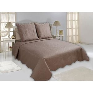 couvre lit taupe achat vente couvre lit taupe pas cher cdiscount. Black Bedroom Furniture Sets. Home Design Ideas