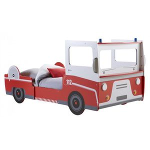 lit enfant 90x190 200 pompier rouge et blanc achat vente structure de lit cdiscount. Black Bedroom Furniture Sets. Home Design Ideas