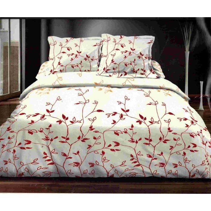 parure de draps 160x200cm feuillage rouge achat vente parure de drap cdiscount. Black Bedroom Furniture Sets. Home Design Ideas