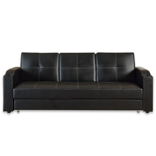 canape lit bar avec tiroir noir achat vente canap sofa divan cdiscount. Black Bedroom Furniture Sets. Home Design Ideas