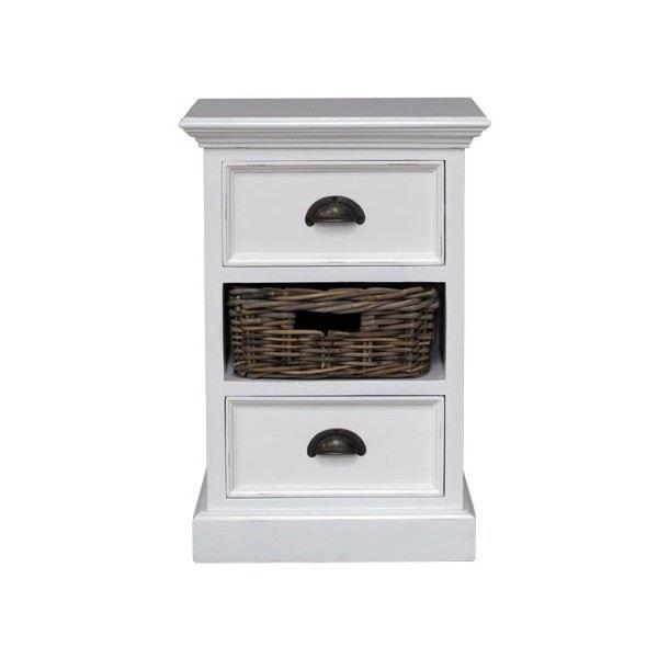 Table de chevet en bois 2 tiroirs 1 panier kinna achat - Table de nuit haute ...